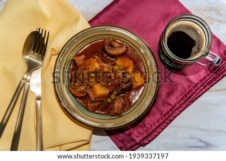 Authentic Irish beef beer stew with mushrooms and peas Stock photo ©