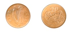 authentic Irish 2 pence coin year 1988 obverse and reverse side on white background,macro close up