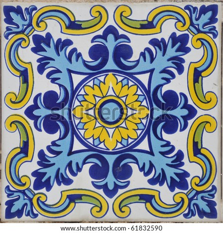 Authentic Mediterranean Ceramic Tile Square