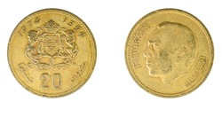 authentic Moroccan 20 centimes coin year 1974 obverse and reverse side on white background, macro close up