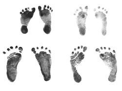 Authentic Newborn Baby Ink Footprints - Normal 7 pound baby and 2 pound premature baby birth weight footprints