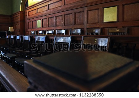 Authentic restored antique jury's box in courthouse