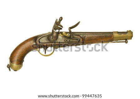 Authentic Revolutionary War flintlock pistol isolated against a white background