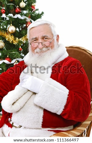 authentic Santa Claus with great smile, isolated on white background