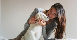 Authentic shot of an young happy woman is caressing her pedigree puppy of Labrador Retriever dog while having fun together on a bed. Concept: love for animals, friendship, authenticity, happiness,pets