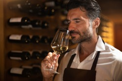 Authentic shot of successful male sommelier is tasting a flavor and checking white wine quality poured in transparent glass in a wine cellar.