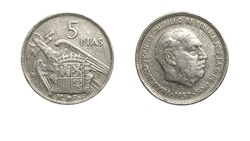 authentic Spanish 5 pesetas coin year 1957 obverse and reverse side on white background,macro close up