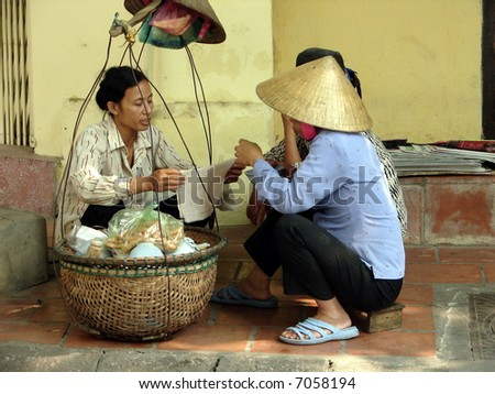 Authentic street business model in Vietnam - stock photo