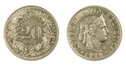 authentic Swiss 20 Rappen coin year 1974 obverse and reverse side on white background,macro close up