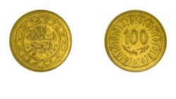 authentic Tunisian coin 100 Milliemes year 1960 obverse and reverse side on white background,macro close up