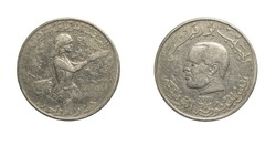 authentic Tunisian 1 dinar coin year 1976 obverse and reverse side on white background,macro close up