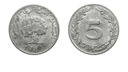authentic Tunisian 5 milliemes coin year 1983 obverse and reverse side on white background,macro close up