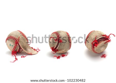 Authentic used baseball, isolated on white background, various ripped and torn stages. Please check out my other similar images inside my portfolio. Thanks!