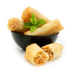 Authentic Vietnamese Spring Rolls - isolated on white background