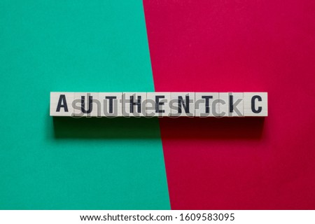 Authentic word concept on cubes