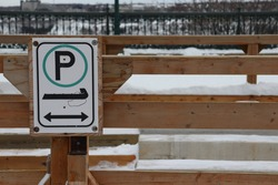 Authorized parking sign for sleds at this location in Quebec City, Canada