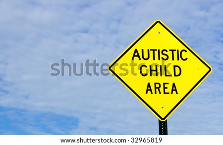 Autistic Child Area Sign, Sky, Clouds, Copy Space, horizontal