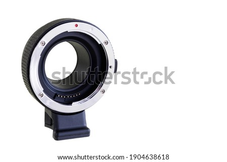 Auto Black Camera Lens Mount Adapter AF, compatible with EFM-EF and EF-S Isolated on white background with space for text Photo stock ©