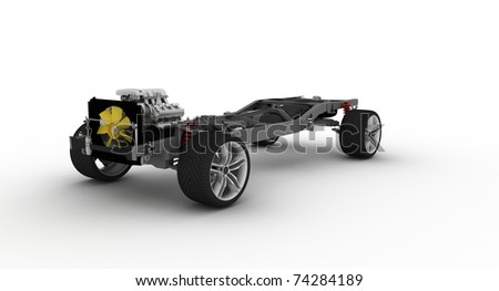 Auto chassis with engine on white background