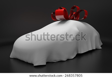 Auto concept of a new covered sports car topped with a red ribbon as a gift