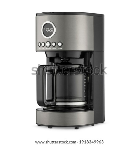 Auto Drip Coffee Maker Isolated. Black Stainless Glass Carafe 12 Cup Automatic Espresso Machine or Coffeemaker with Clock Side View. Modern Drip Coffee Pot. Domestic Electric Kitchen Small Appliances