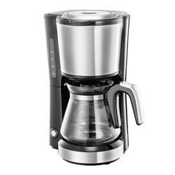 Auto Drip Coffee Maker Isolated on White. Brushed Stainless Steel & Glass Automatic Espresso Machine or Coffeemaker. Modern Drip Coffee Pot. Electric Kitchen Small Appliance. Domestic & Household