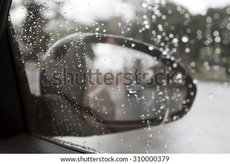 auto glass and water drop during driving car in rain
