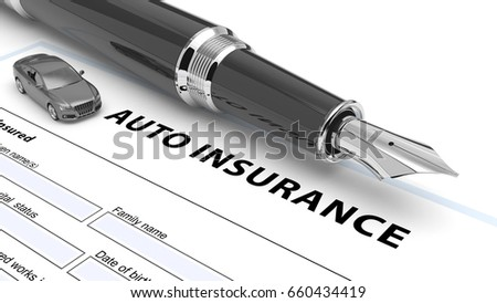 Auto insurance policy. 3d illustration