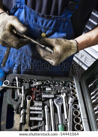 Auto mechanic with working tools