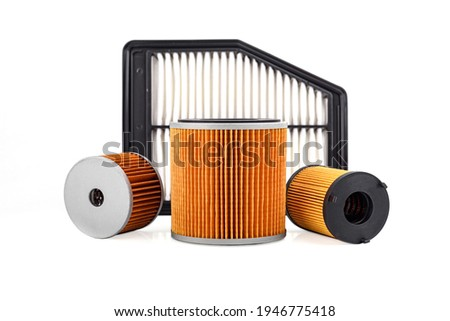 Auto parts accessories : Oil , fuel or air filter for engine car isolated on white background. Foto stock ©