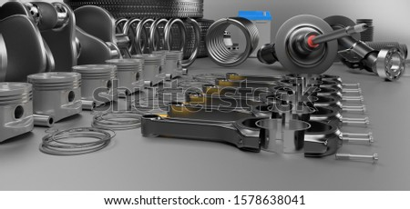 Auto parts spare parts car on the grey background. Set with many new items for shop or aftermarket. Auto parts for car. 3D rendering panorama