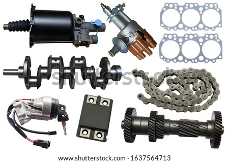 Auto parts, vehicle parts, car accessories isolated on a white background.