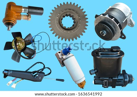 Auto parts, vehicle parts, car accessories isolated on blue background.