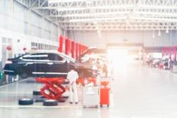 Auto repair service. Blurred background. Car repair center auto repair service station blurred background.