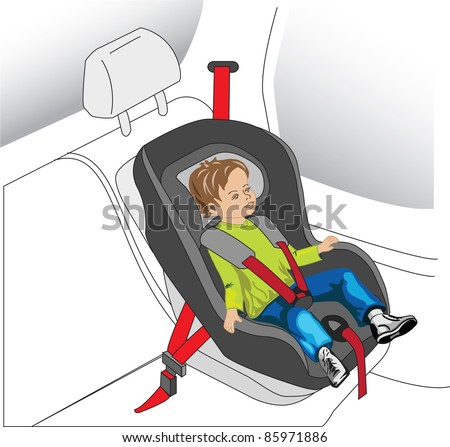 auto seat for child, boy with safety belt on