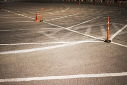 auto slalom competition track. place for sport drive. night drifting event backdrop.