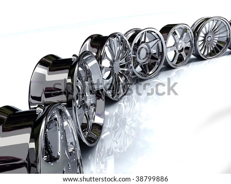Auto steel alloy car rims over the white background