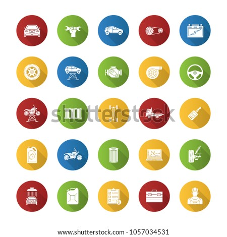 Auto workshop flat design long shadow glyph icons set. Car service. Instruments, equipment and spare parts. Raster silhouette illustration #1057034531