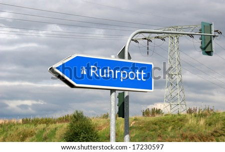 Autobahn direction sign Ruhrpott (Ruhr area, also called Revier or Pott) - the Ruhrgebiet is an area with 10 million inhabitants with big cities like Essen, the european capital of culture 2010