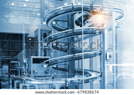 Automated conveyor systems , modular conveyors and industrial automation for package transfer machine in building glass. Blue tone and flare light effect.