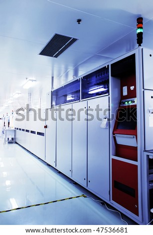 Automated production line in modern Solar silicon factory - stock photo