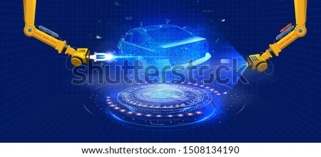 Automated robotic arm on the car production line is  welding car body on automobile factory. The robots draw the outline of the concept car with a laser and hologram. Futuristic car in style HUD GUI.
