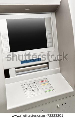 Automated teller machine close-up - stock photo