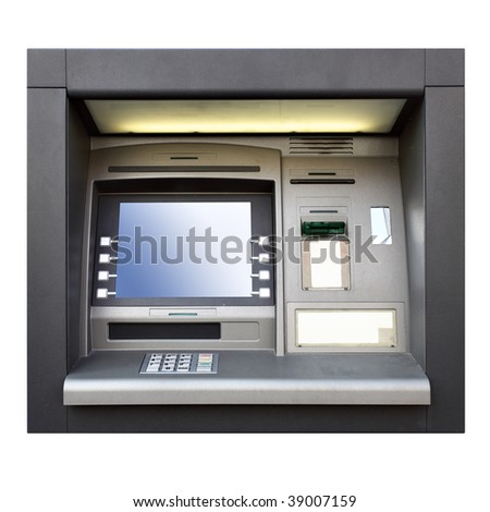 Automated teller machine close up isolated over white background