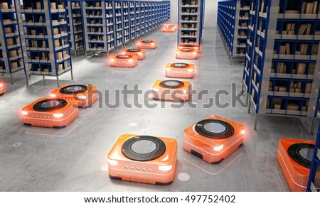 automated warehouse 3d rendering image