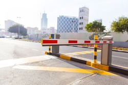automatic barrier on the road close-up