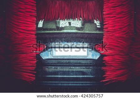 Automatic Brush Car Wash. Car Washing Closeup.  #424305757