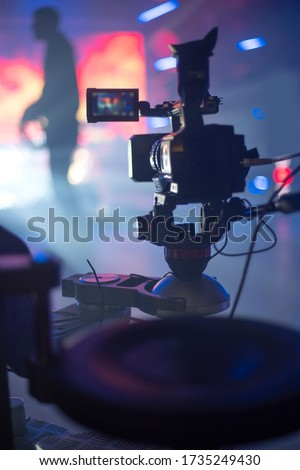 automatic cart for video shooting. TV show recording