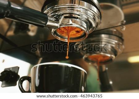 Automatic coffee machine preparing espresso #463943765