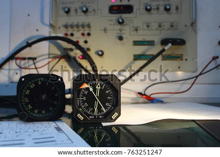 Automatic Direction Finder (ADF) and Navigation indicator, compass indicator  and electronics circuit of indicator ,indicator of Avionics System ,Navigation system ,Avionics equipment with maintenance